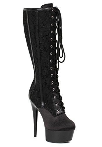 inch Blk Women's Shoes High Lace 6 Boot Ellie Knee gtpqw