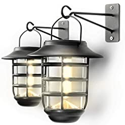 Garden and Outdoor Home Zone Security Solar Wall Lantern Lights – Outdoor 3000K Decorative Light Fixture Wall Mount with No Wiring Required… outdoor lighting