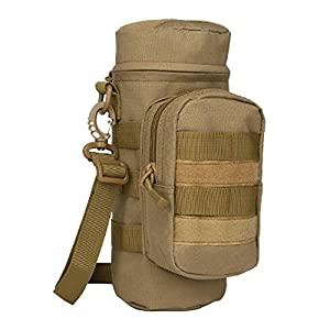 MOLLE Water Bottle Holder Pouch Carrier Sling Bag Carrying Case for Walking Hiking Camping Cycling Gym Workout Travel Sport by Aiyuda, Coyote Brown