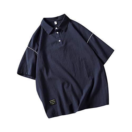 AOJIAN Men T Shirts Half Sleeve T-Shirt Lapel Turn Down Collar Tee Shirts Tunic Blouses Vest Tank Tops Navy