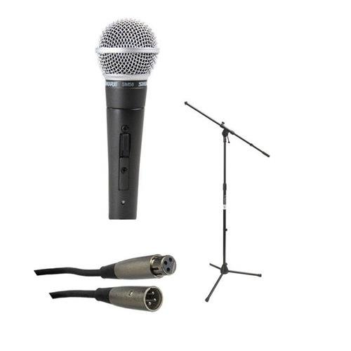 Shure SM58-S Cardioid Dynamic Handheld Wired Microphone with ON / OFF Switch. - Bundle With On-Stage MS7701B Euro-Boom Microphone Stand, And 25' XLR Microphone Cable (Microphone Shure Cardioid Dynamic)