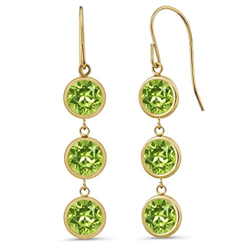 3.60 Ct 3 Round Green Peridot Stones 14K Yellow Gold Bezel 1'' Dangle Earrings by Gem Stone King