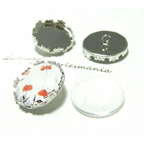 20 pièces: 10 boutons à coudre 20mm couronne PP et 10 cab perlesmania.com