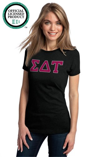 Ann Arbor T-shirt Co Women's SIGMA DELTA TAU -Fitted, SDT Sorority T-Shirt