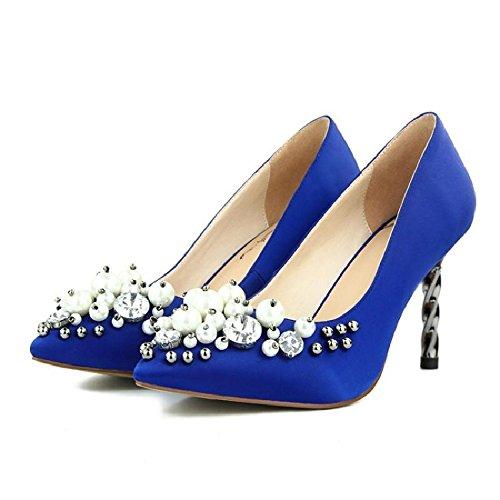 GAOLIM De De Femeninos Inlay Someros Pearl De Mujer El Altos Zapatos Tacones Mujer azul Zapatos Cómodos Primavera Zapatos Zapatos Mujer Singles rPqx5wFnr