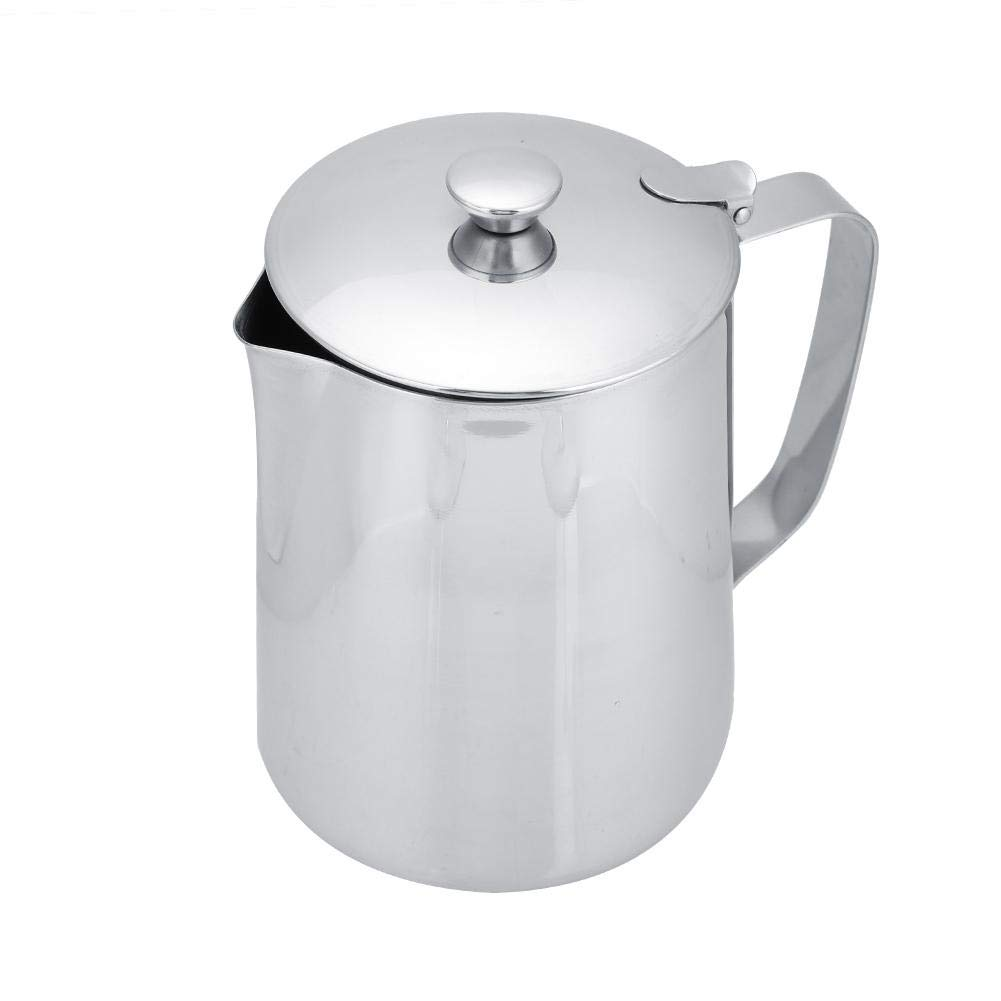 Fdit Stainless Steel Coffee Cup Mug Milk Frothing Pitcher Jug with Lid for Latte Coffee Art for Office Kitchen(2000mL) by Fdit