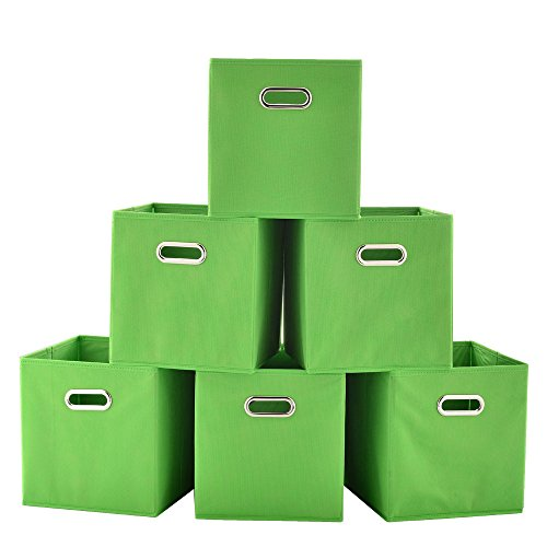 VCCUCINE Drawer Organizers 6-Pack Single Handle Fabric Storage Bins Foldable Storage Cubes, Green Cloths Baskets Containers Cubes for Home Closet Bedroom Books Socks by VCCUCINE