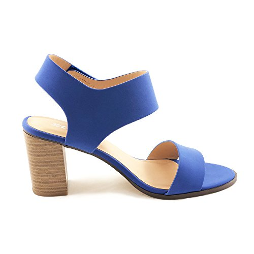 SODA Topshoeave Wait Womens Open Toe Chunky Heel Ankle Strap Shoes Block High Heel Dress Sandals (5.5 B(M) US, Blue NBPU)