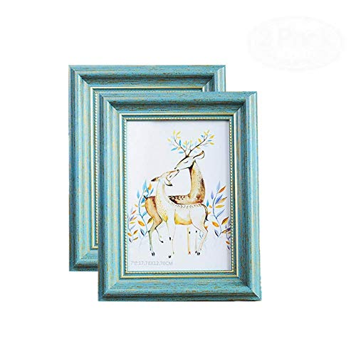 MUAMAX Antique Teal 5 x 7 Inch Picture Frames Finish in Metallic Gold Edge Photo Frames for Horizontally or Vertically Table Top Display and Wall Hanging Turquoise Decor (2-Pack)