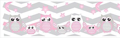 Pink Owl Border Wall Decals Stickers/Chevron Border Nursery Decor (Pink Owls)