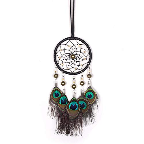 Dream Catcher Handmade Rainbow Feather Tradiontal Bead Dream Catcher Wall Hanging Mordern Home Decoration (Multicolor)
