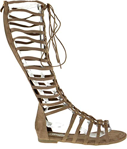 e82897c36657 DbDk Carling 3 Womens Knee High Flat Caged Gladiator Sandals ...