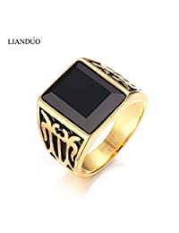 Slyq Jewelry Stylish Trendy Men Jewelry Vintage Square Black Ring for Men Gold Plate Ring bague homme anillos
