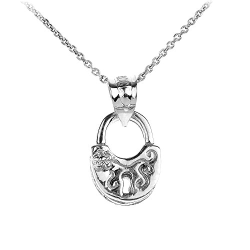 - Polished 14k White Gold Heart Lock Charm Pendant Necklace, 18