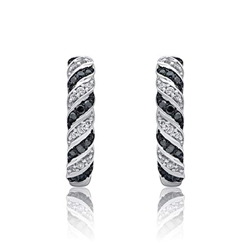 1/6 Carat Natural Diamond Earrings 10K White Gold (HI Color, I3 Clarity) Black and White Diamond Huggie Earrings for Women Diamond Jewelry Gifts for Women