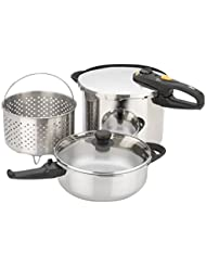 Fagor Stainless Steel Duo Combi 2-in-1 Pressure Cooker for Rice, Beans, Braised Meats, & Soups, 4 & 8 Quart, Silver, 5 Piece Set