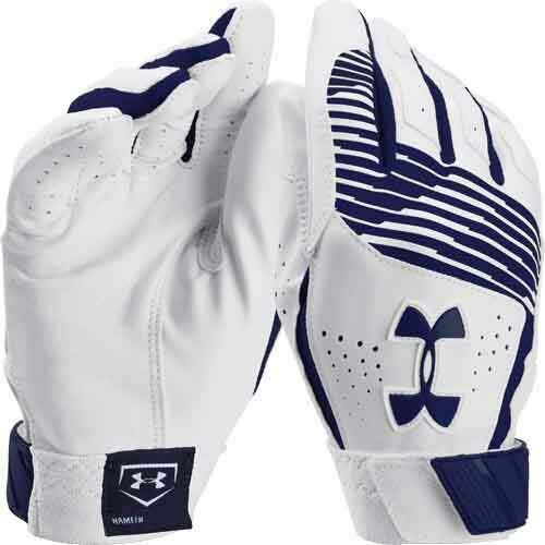 Under Armour UA Clean Up IV Diamond Armour Premium Goatskin Leather Batting Gloves Adult Small (White/Navy Blue Graphics) (Iv Adult Batting Gloves)
