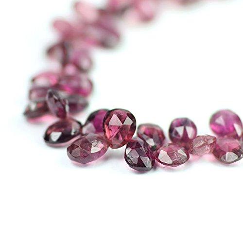 Pink Tourmaline Faceted Pear Briolettes Rubellite Pink Semi Precious Gemstones 4.8-7 mm 12 pcs ()