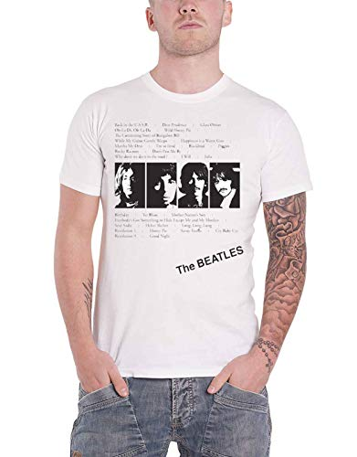 The Beatles T Shirt White Album Tracks Official Mens White Size L