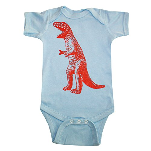 Happy Family T Rex Dinosaur Light Blue Baby Boy Bodysuit