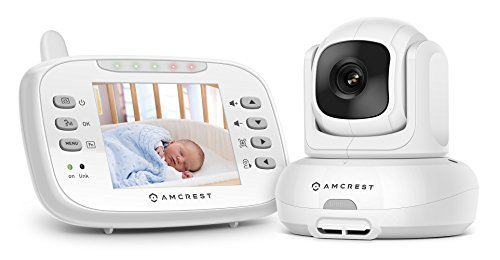 Amcrest Video Baby Monitor (AC-1) with Pan/Tilt/Zoom Camera, 3.5 inch LCD, Non-Visible Night Vision, 2.4 GHz Wi-Fi with FHSS, Temperature Sensor, and 2-Way Audio by Amcrest