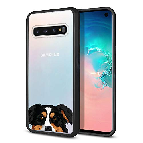 (FINCIBO Case Compatible with Samsung Galaxy S10 6.1 inch, Slim TPU Bumper + Clear Hard Protective Case Cover for Galaxy S10 (NOT FIT S10 Plus) - Black Tricolor Aussie Australian Shepherd Dog )