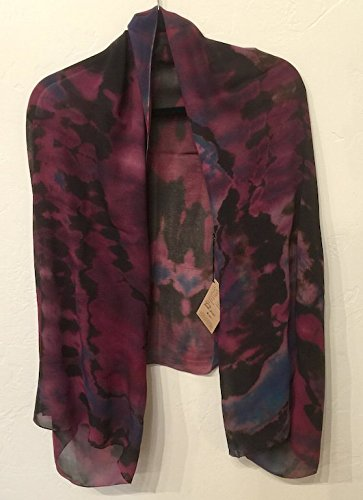 Lorie McGirr Shrug - Multi Purple Reverse Shibori Chifon 22''x60'' by Indigo Desert Ranch