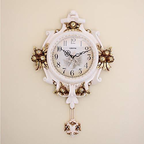 - Creative Home Retro European Decorative Wall Clock Resin Antique Carved Digital Clock White Living Room Bedroom Silent Wall Clock with Pendulum 4364cm