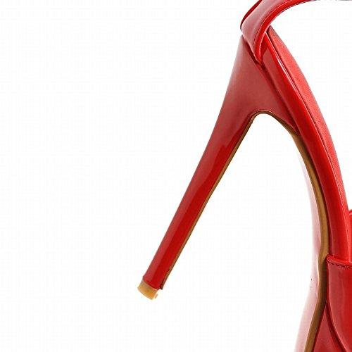 Mee Shoes Damen Stiletto open toe Lackleder Schnalle Sandalen Rot
