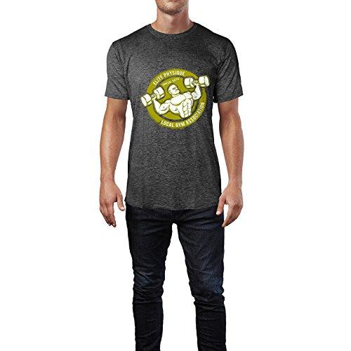 SINUS ART® Bodybuilder Mann mit Hanteln im Retro Stil Herren T-Shirts in dunkelgrau Fun Shirt mit tollen Aufdruck
