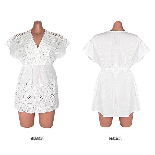 &qq Mujer vestido de playa de vacaciones, falda de playa, protector solar chal de playa , one size , white White