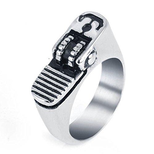 KnSam Gothic Ring Set for Men Stainless Steel Lighter Ring Men Punk Silver Ring 12