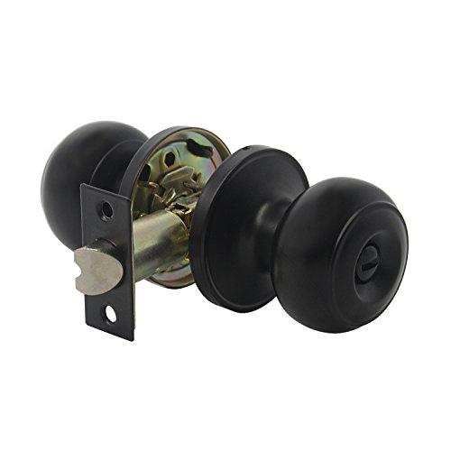 Antique Ball Privacy Door Knob, Solid Steel Doorknob, Interior Security Deadbolt Door Handle For Storeroom Bedroom Bathroom, Interior Door Use, Matte Black (Bronze Knob Ball Solid)