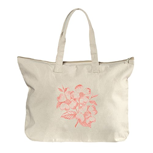 Dogwood Flowers Pink Vintage Look Canvas Beach Zipper Tote Bag - Center Dogwood Shopping