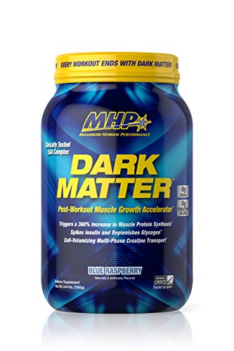 MHP Dark Matter Post Workout, Recovery Accelerator, w/Multi Phase Creatine, Waxy Maize Carbohydrate, 6g EAAs, Blue Raspberry, 20 Servings