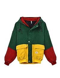 Nivalkid Fabal Winter Warm Color Block Hooded Corduroy Jacket Drawstring Hit Color Pocket Women Coat
