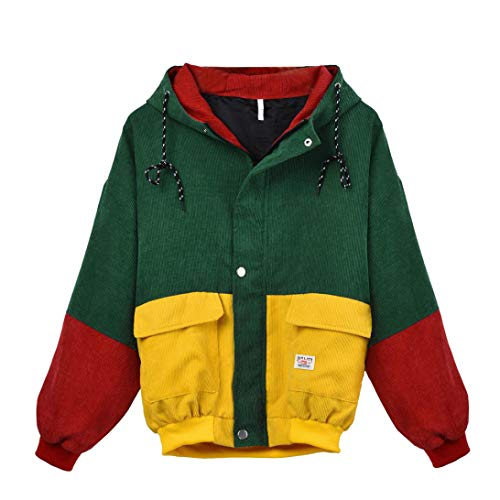 acket, Warm Patchwork Zip Button Up Pockets Jacket Streetwear Outwear Oversize Coat Hood ()