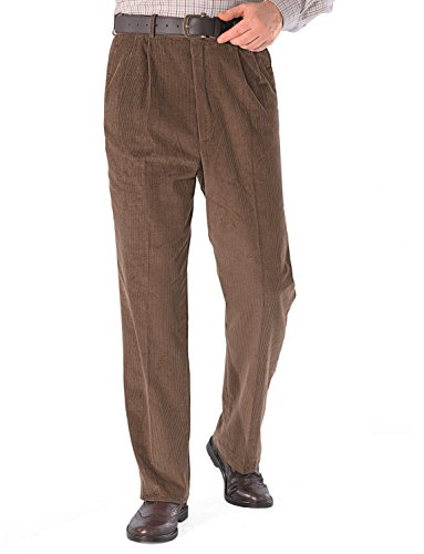 - Mens Luxury Cotton HIGH-Rise Corduroy Adjustable Pleated Trouser Pants Brown 44W x 29L