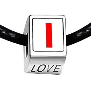 Chicforest Silver Plated Red Letter I Photo LOVE Charm Beads Fits Pandora Charm