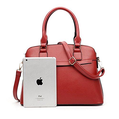 M-Queen PU in pelle 3 in 1 Set Bag con 1 Borsa a spalla 1 Borsa and 1 Purse rosso moda progettazione bag