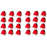 HK Balloons Christmas Hats, Santa Claus Caps for Kids and Adults, Free Size, Xmas Caps (Pack of 48)