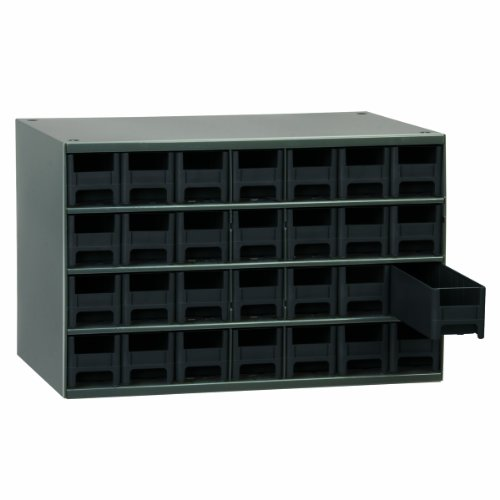 Akro-Mils 19228 17-Inch W by 11-Inch H by 11-Inch D 28 Drawer Steel Parts Storage Hardware and Craft Cabinet, Black Drawers by Akro-Mils