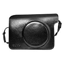 Elisona-Portable Protective Case Accessory Cover PU Leather Storage Bag with Removable Shoulder Strap for Fujifilm Instax Wide 300 Instant Cameras Black