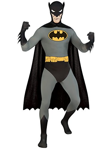 DC Comics Adult Batman 2nd Skin Zentai Super Suit, Black, Medium (Rubie's Costume 2nd Skin Zentai Supersuit Costume)