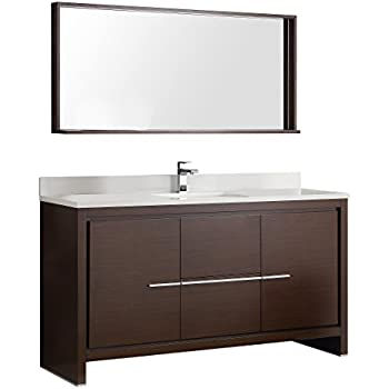 Fresca Allier Wenge Brown 60 Inch Modern Single Sink Bathroom Vanity With  Mirror
