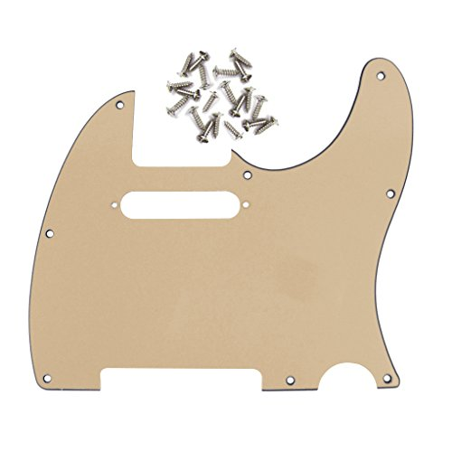 IKN 3Ply Tele Guitar Pickguard 8 Hole for Tele Style Guitar, Cream, w/Screws