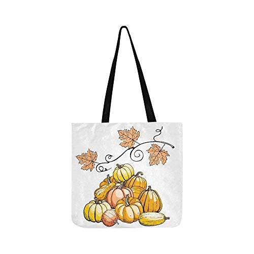 Hand-painted Pumpkin Painting Canvas Tote Handbag Shoulder Bag Crossbody Bag Lightweight Canvas Grocery Bags For Men Women Teens Shopping Traveling Shipping -