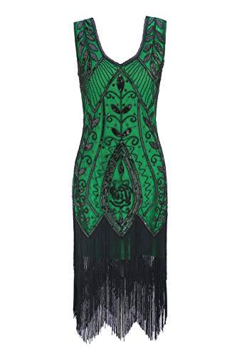 - Metme Women's 1920s Flapper Fringe Beaded Great Gatsby Party Dress Emerald Green