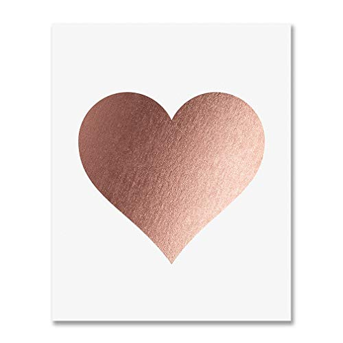 (Rose Gold Foil Heart Print Wall Art Modern Heart Decor Love Nursery Room Poster 5 inches x 7 inches A32)