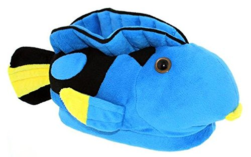 Happy Feet 9092-9 - Blue Tang - Toddler Large Animal Slippers -